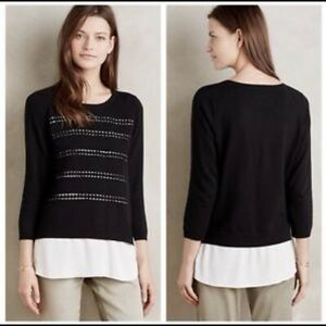 anthropologie layered dovie pullover size XS S1